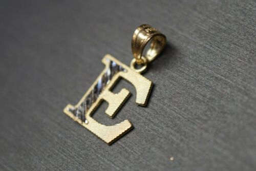 10K solide or jaune deux tons diamant coupe Initial Lettre Alphabet Charme Pendentif