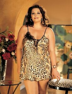 Shirley-of-Hollywood-Women-Size-18-Silk-Animal-Print-Chemise-Designer-Lingerie