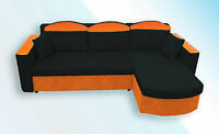 CORNER sofa bed IRYS in BLACK AND ORANGE COLOUR