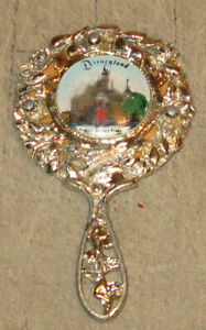 """Vintage DISNEYLAND 4"""" Silver Colored Souvenir Hand Held Mirror -  California?"""