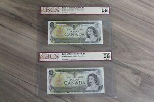 Pair-1973-Consecutive-BCS-Bank-Canada-1-BC-46a-Lawson-Bouey-2Letter-AU-UNC-58