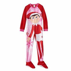 girls elf on the shelf footed long sleeve pajamas one. Black Bedroom Furniture Sets. Home Design Ideas