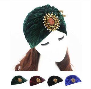 78c2f6a9273 Luxe Jewel Velvet Turban Beanie Hat Indian Arab Moroccan Hijab ...