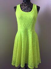 Express Neon Yellow Green Mesh Woven Crochet Overlay Dress Festival Club M