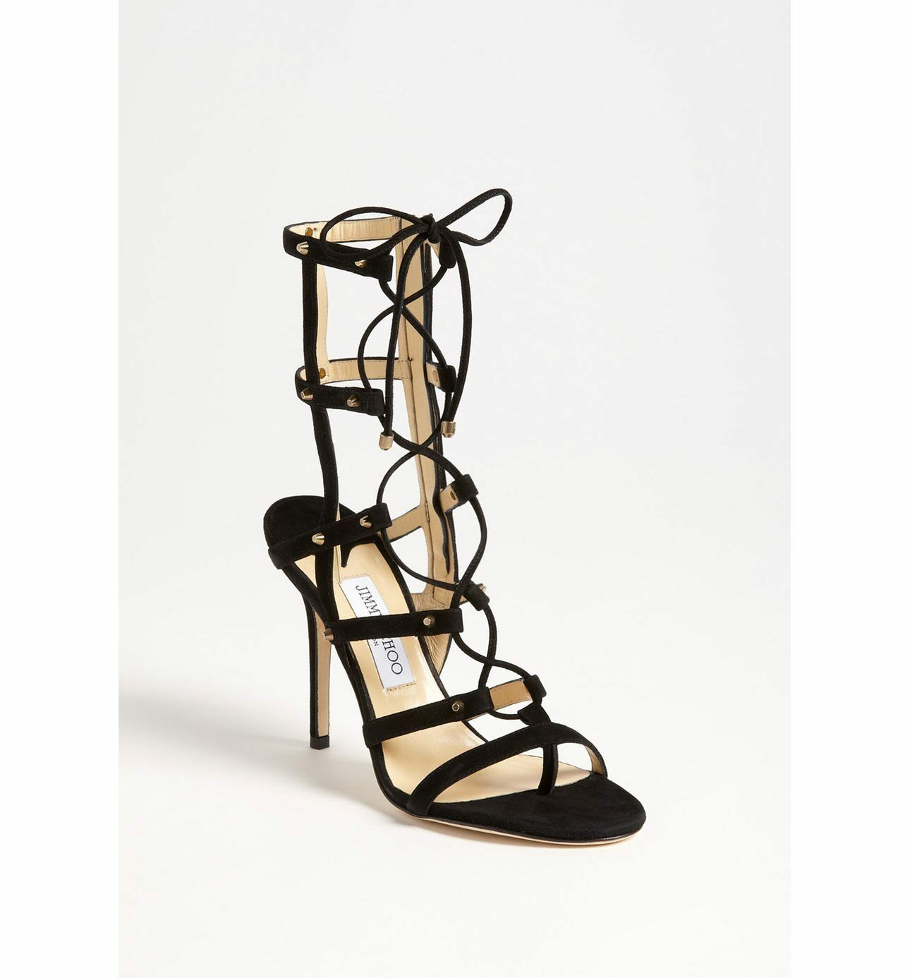 NIB  1095 Jimmy Choo MEDDLE Caged Lace Up Sandal Heel shoes Black Suede 38.5  8.5