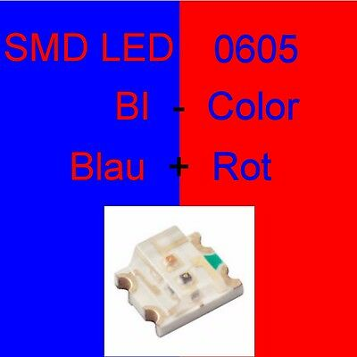 1//10//20 Stück SMD LED 0605 Bi-Color Kaltweiß//Rot Duo LED Bicolor C3249