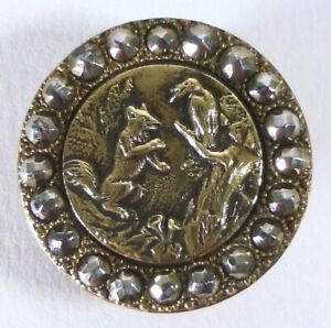 Bouton-ancien-Le-Corbeau-et-le-Renard-26-mm-French-Fable-Cut-Steel-Button