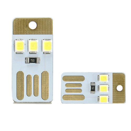 2x Mini Portable Wihte Bright LED Night Light USB Port Lamp for PC Mobile Power