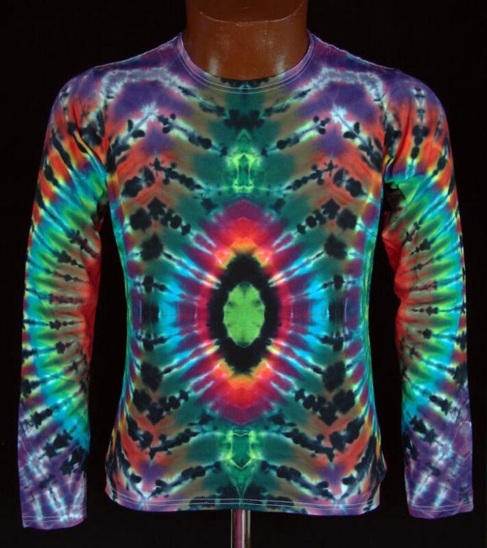T-Shirt Gr.S - 5XL langarm handgefärbt Hippie Tie dye dye dye Batik Flower Power Goa NEU bacdc3