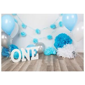 7x5ft photography backdrops baby boys 1st birthday blue balloons