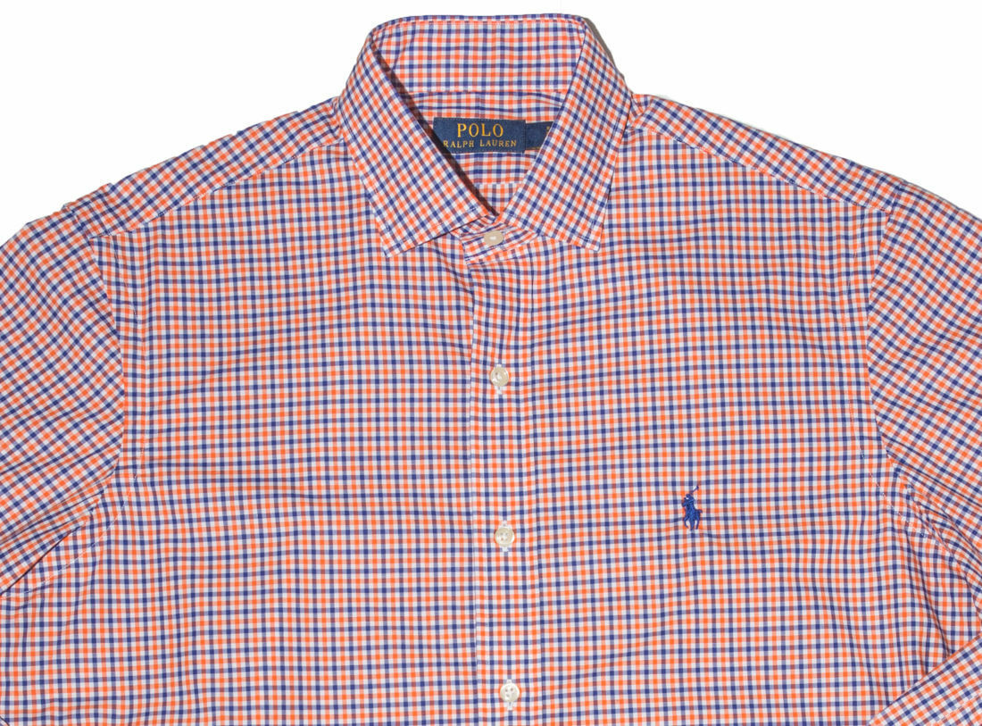 Men's RALPH LAUREN orange bluee White Plaid Shirt XXL 2XL NWT NEW bluee Pony