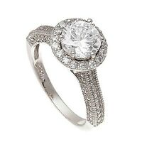 14k White Vermeil Encrusted 3 Sided Halo Cubic Zirconia Engagenent Ring-925/ss-