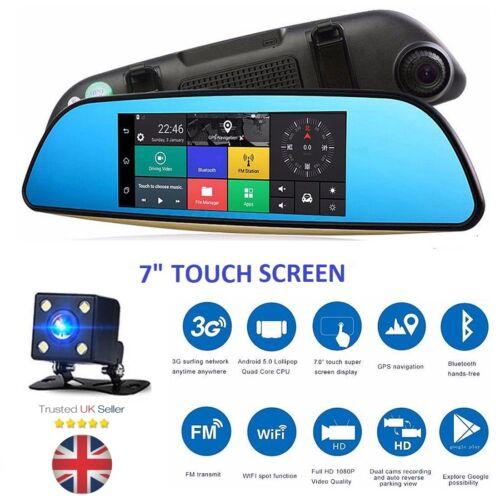 """805 7/"""" pulgadas Android Doble Lente Espejo Retrovisor Coche Cámara Dvr Gps Wifi Cámara en Tablero Reino Unido"""