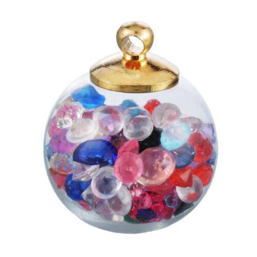10 Mehrfarbig Wunschflasche Charm Anhänger Kettenanhänger Rund Glas 2x1.5cm
