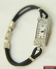 1920s Art Deco Croton 17J Platinum and Ten Diamond Wrist Watch For Parts Repair