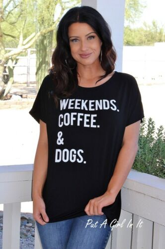 """/& DOGS./"""" NUDE TAUPE BLACK SHIRT 1X 2X 3X PLUS SIZE DOG LOVERS /""""WEEKENDS COFFEE"""