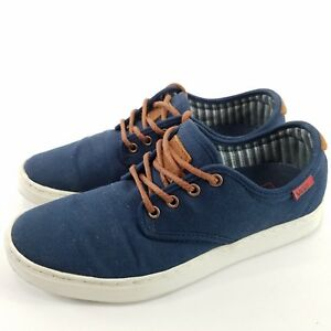 3790f76f99f121 Mens Vans Shoes Sneakers Skater Navy Blue Canvas Brown Leather Size ...