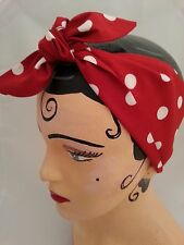 ROCKABILLY LAND GIRL HEADBAND HEAD SCARF RED  POLKA DOTS 1940s 1950s PIN UP