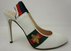 808a1eaee Gucci Women's Sylvie Bee Slingback Pump White Leather Shoes Size ...