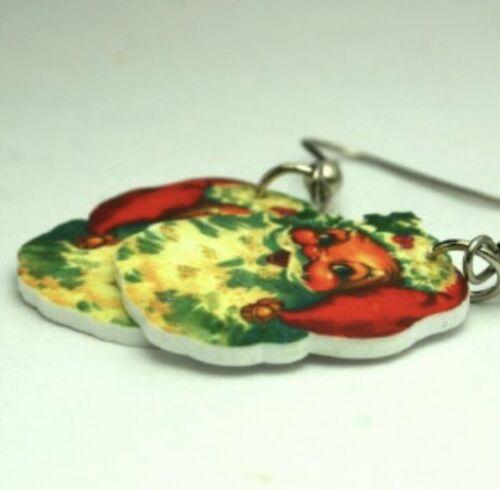 vtg 50/'s santa claus christmas charm glitter earrings