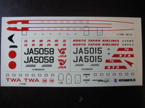 1//100 DECALS McDONNELL DOUGLAS DC 3 NDA /& JDA JAPAN AIRLINES TWA DECALCOMANIES