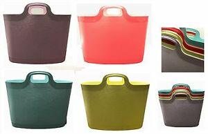 3 x plastique de rangement flexible flexi paniers vêtements blanchisserie bucket tub 24.5 ltr  </span>