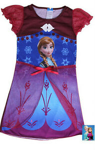 Existencia-RU-Frozen-Vestido-De-Noche-Camison-Vacaciones-Verano-Rojo-Anna-3