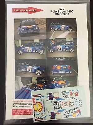 Amichevole Decals 1/43 Vw Volkswagen Polo S1600 Katajamaki Rallye Monte Carlo 2003 Rally