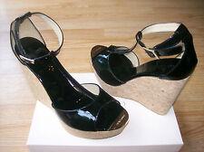 $495 Jimmy Choo Pela T Strap Cork Wedge Black Patent Leather 41 US 10.5 NEW
