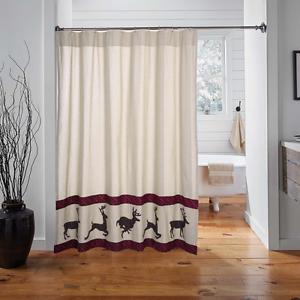 WYATT-DEER-Shower-Curtain-Cabin-Lodge-Hunting-Rustic-Farmhouse-Khaki-Chambray