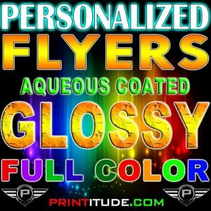 """5000 PERSONALIZED 8.5"""" X 11"""" FLYERS FULL COLOR 100LB GLOSSY 8.5X11 FLYER +DESIGN"""