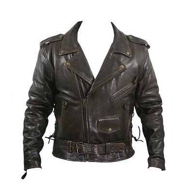 Mens Retro Brown  Buffalo Leather  Motorcycle Biker Jacket Retails for $229