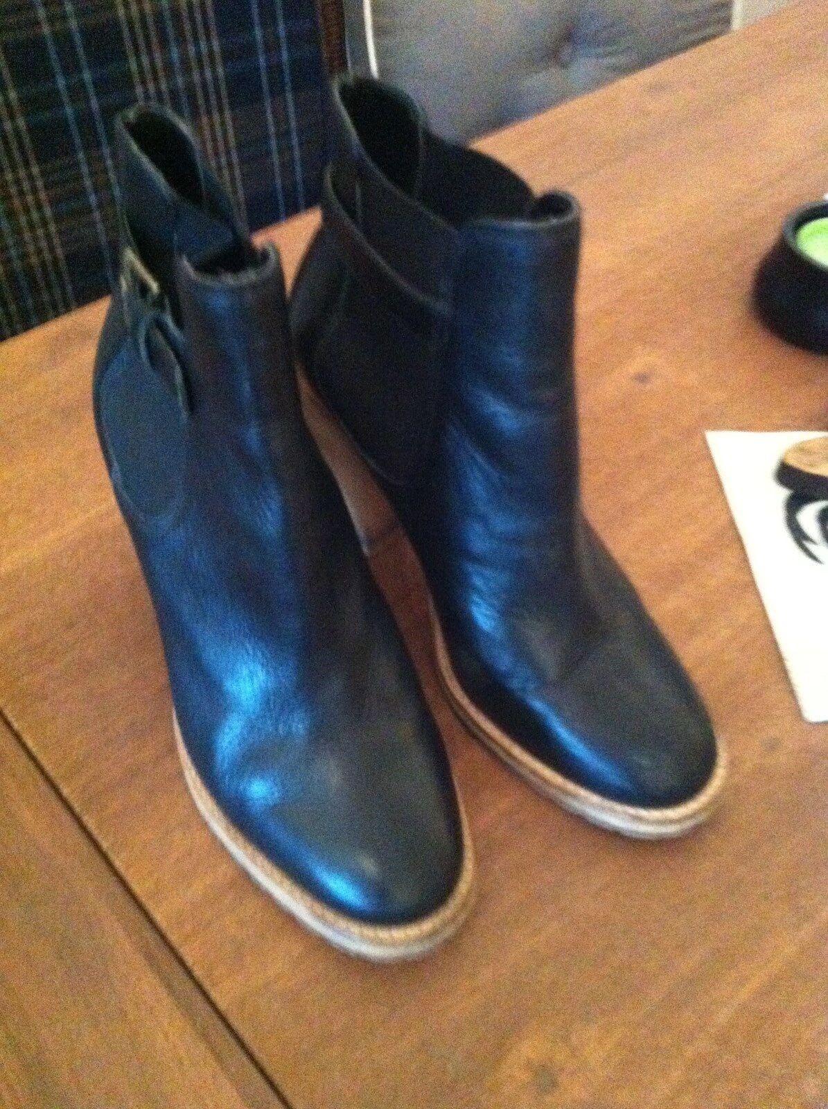 Buffalo Stiefeletten Leder schwarz helle Bbsätze Stretch Gr. 37