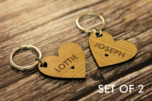 Set of 2 Personalised Heart Keyrings for Couples Friends Valentine's Birthday