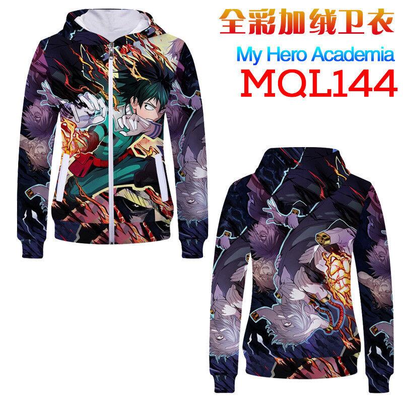 Anime My Hero Academia Cosplay Printing Hoodie Zipper Hooded Coat Sweatshirt