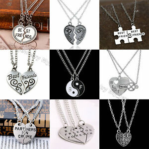 Best Friends Necklaces Silver chain Womens Mens Heart Pendant Charm Jewellery