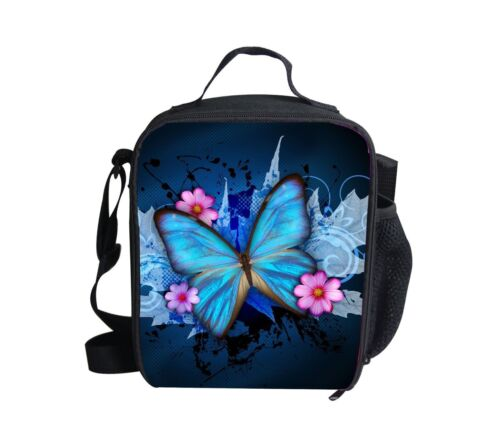 Blue Butterfly Lunch Bags Girls School Tthermal Insulated Lunch Box Tote Bag