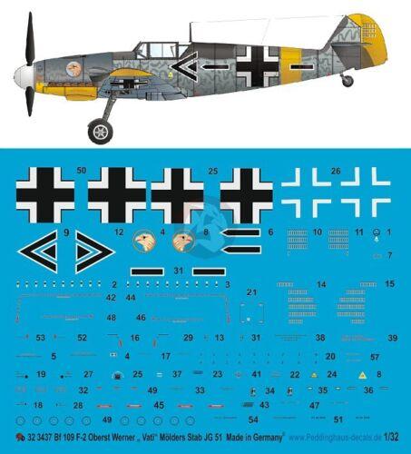 Peddinghaus 1//32 Bf 109 F-2 Markings Werner Molders Stab.//JG 51 Russia 1941 3437
