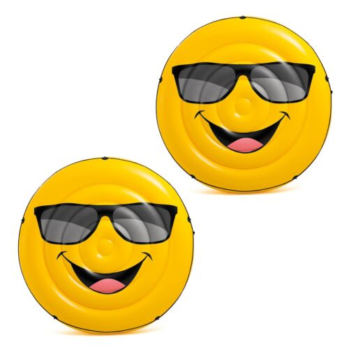 Intex Giant Inflatable Emoji Cool Guy Island Lounger Ride On Pool Float 2 Pack