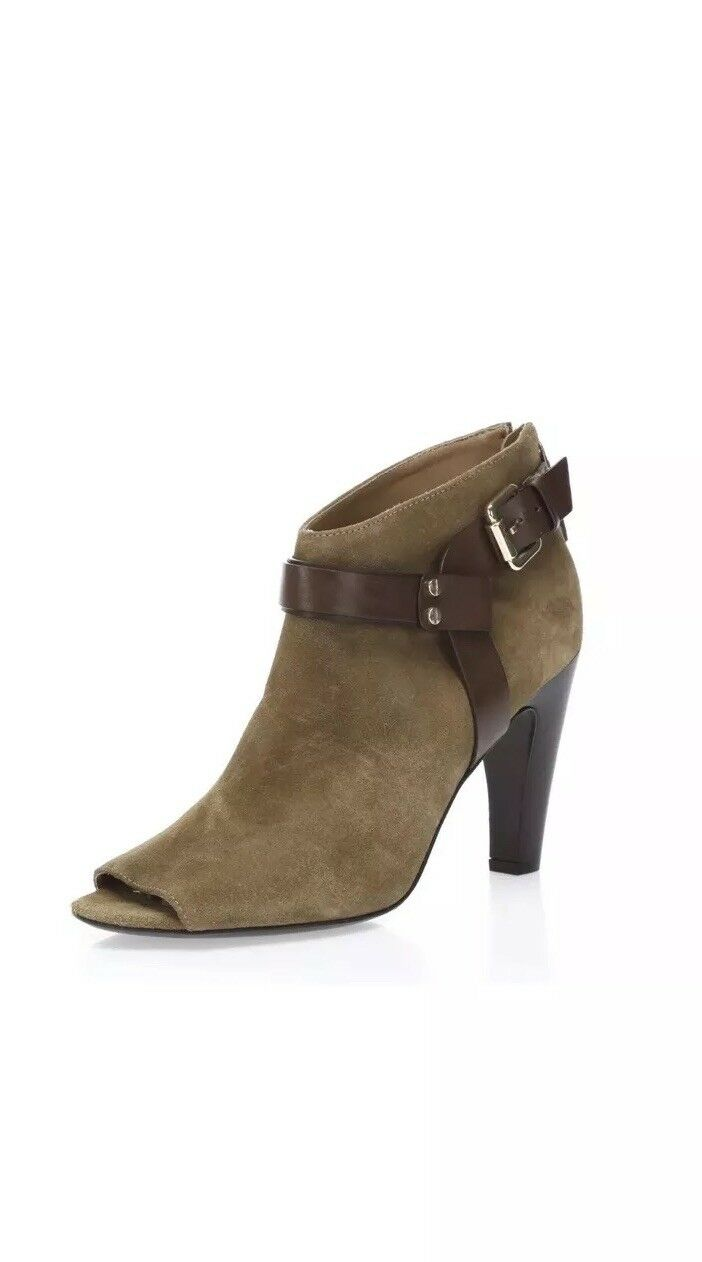 Womens SIGNATURE BY VINCE CAMUTO tan suede open toe ankle booties sz. 8.5