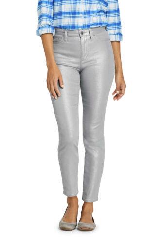 Lands/' End NWT Women/'s High Rise Slim Leg Ankle Jeans Grey Shimmer MSRP $80