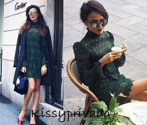 be673a5b ZARA Bottle Dark Green Long Sleeve Lace Dress L BNWT REF: 0387 232 ...