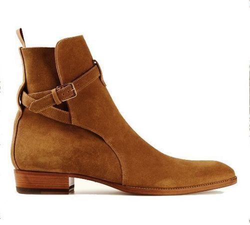 Mens Brown Genuine Suede Leather Shoes Handmade High Mens Jodhpurs High Handmade Ankle Boots 438dda