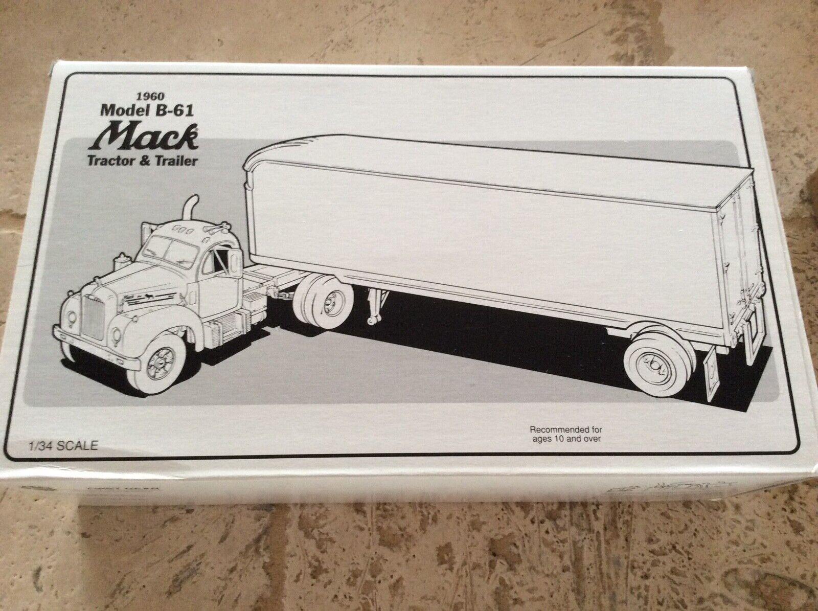 First Gear Mercer transporte 1960 Mack B-61 Tractor & Remolque 18-1397