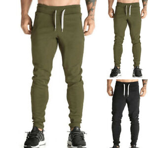 Moderno-Hombre-Liso-Pantalones-Joggers-Jogging-Deporte-largos-de-chandal