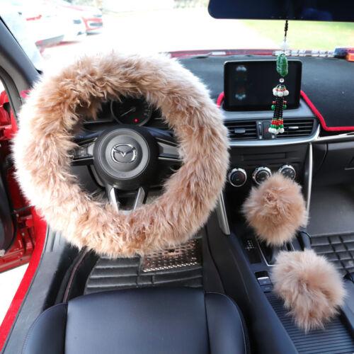Künstlich Wolle Hellgrau Soft Comfort Lenkradbezug Plüsch Komfortable Innen Auto