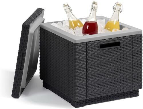 Beistelltisch//Kühlbox Ice Cube 40 Liter braun Kühltaschen/&-boxen Garten Terrasse