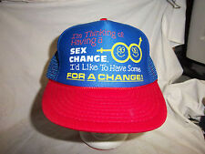trucker hat baseball cap I'D LIKE TO HAVE SEX FOR A CHANGE rare retro VINTAGE