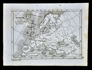 Map Of Spain 8th Century.C 1835 Levasseur Map 8th Century Europe Charlemagne Era Caliphate