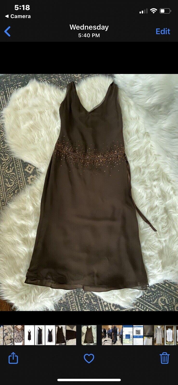 Vera Wang Brown Silk Sleeveless Beaded 20s Look D… - image 8